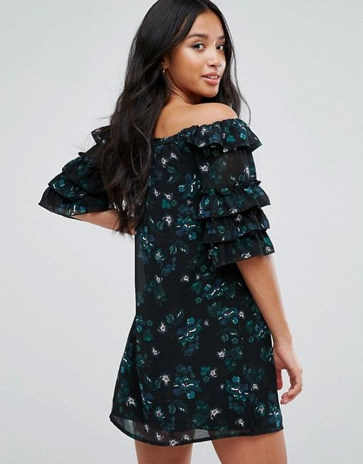 8c456cec994c Fashion Union Petite Off Shoulder Dress With Ruffle Sleeves In Dark Floral  in black blue green white