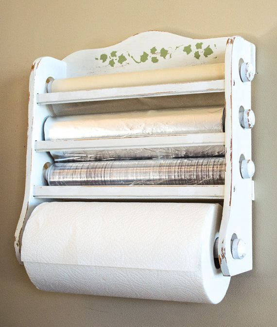 Shabby Chic Kitchen Dispenser Wax Paper Foil Plastic Wrap Paper Towels Hand Painted Distressed White Chic Kitchen Shabby Chic Kitchen Shabby Chic