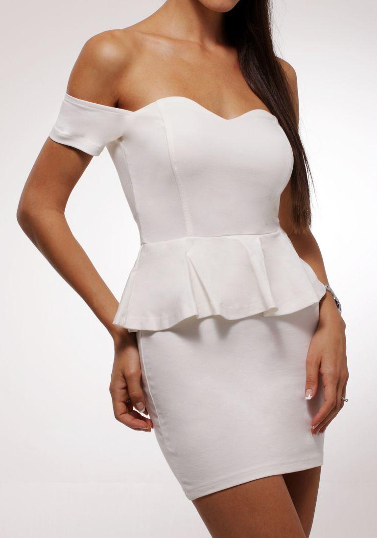 Peplum Off-shoulder Dress - White