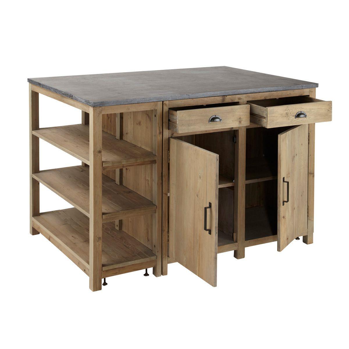 Îlot central cuisine en pin recyclé L145   Maisons du ...