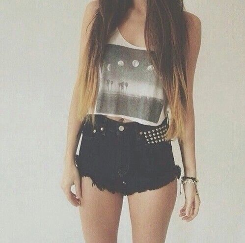Cute Outfit Fashion High Waisted Shorts Summer Outfit Out Fits