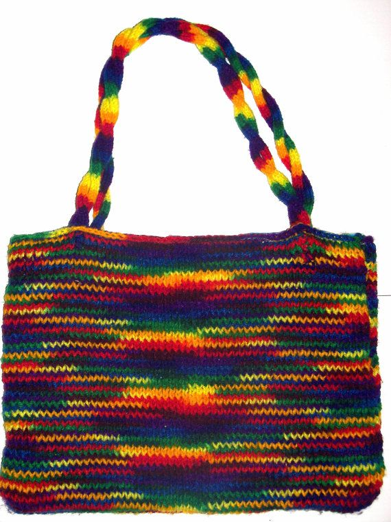 On Sale Tote Bag Rainbow  / Medium  Hand Knit by HeavensDesign