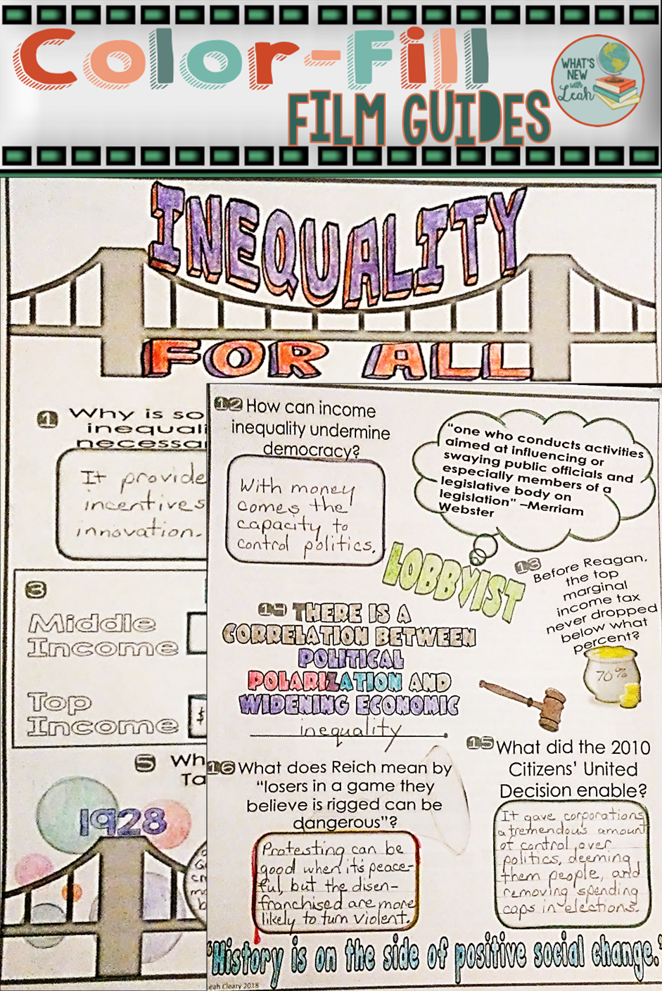 Color Fill Film Guides Are Doodle Notes For Movies And This One Is For A Documentary Called Inequality Media Literacy Lessons Literacy Lessons Teaching Coding