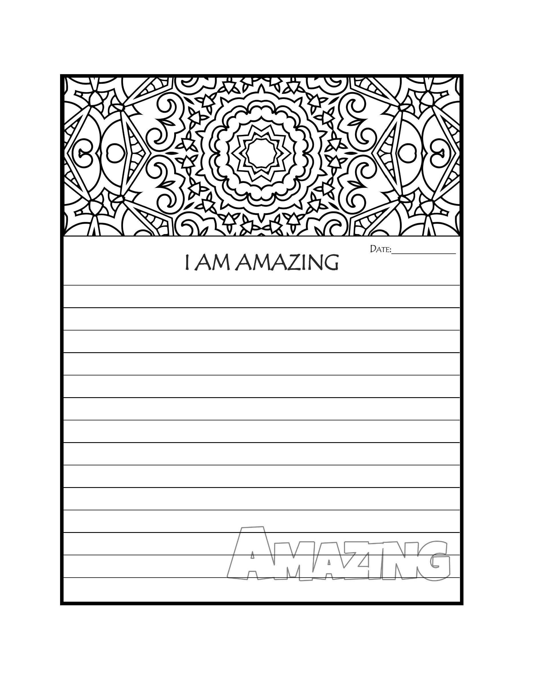 Journal Page Printable Journal Pages I Am Amazing Coloring