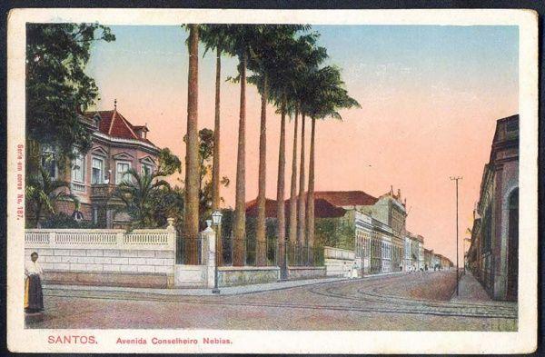 Santos - Avenida Conselheiro Nebias - Cartão Postal antigo original, série em cores nº 187, editor não mencionado.