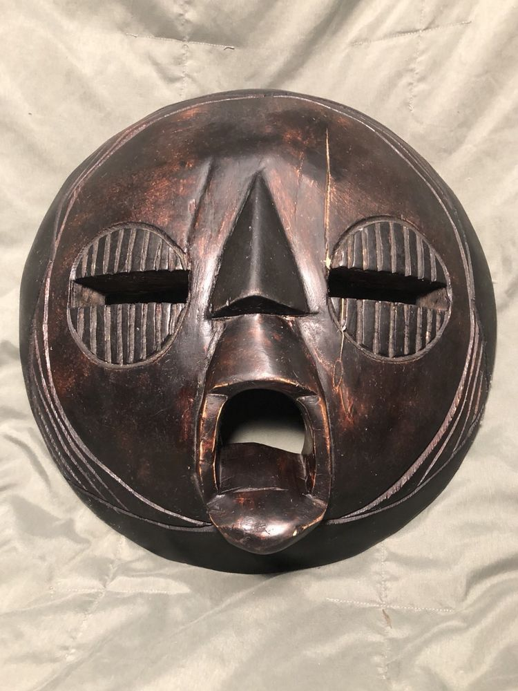 Hand Carved Wooden African Mask Tribal Dark Wood Round Wall Hanging Plaque