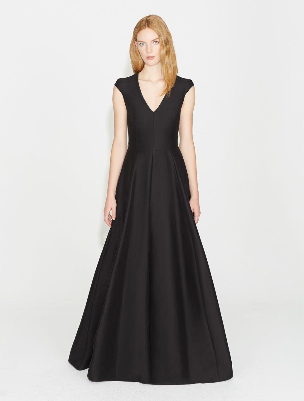 Cap sleeve v neck silk faille gown fancy dresses