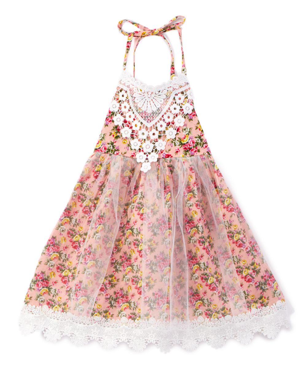 Pink della floral u lace bib halter dress toddler u girls pink
