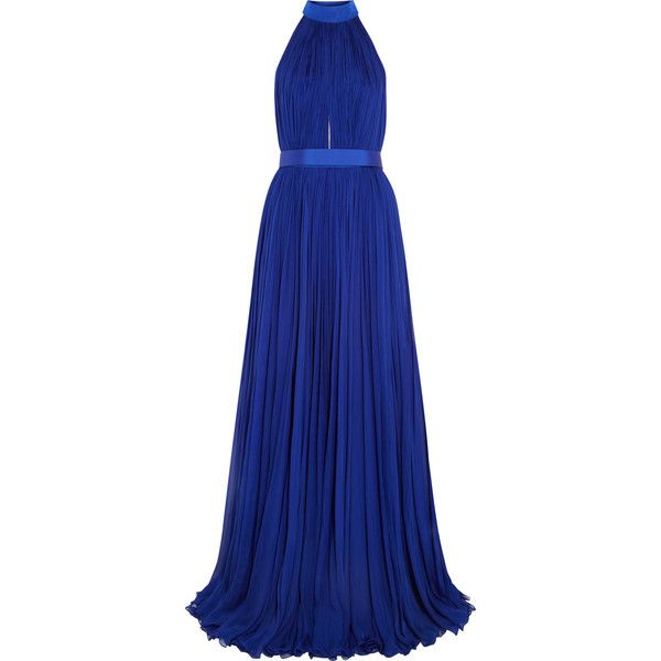 Alexander McQueen Plissé silk-chiffon gown (£1,808) ❤ liked on Polyvore featuring dresses, gowns, vestidos, long dresses, alexander mcqueen, blue, royal blue dress, halter dress, long halter dress and electric blue dress