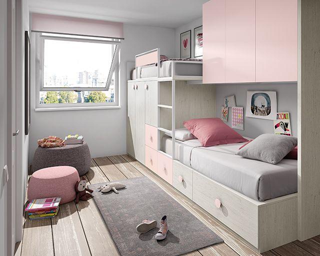 cama tren para niñas rosa y color madera claro bedroom style