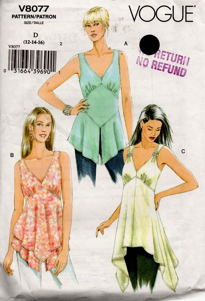 Vogue V8077 Womens Boho Easy Sleeveless Summer Handkerchief Tops OOP ...