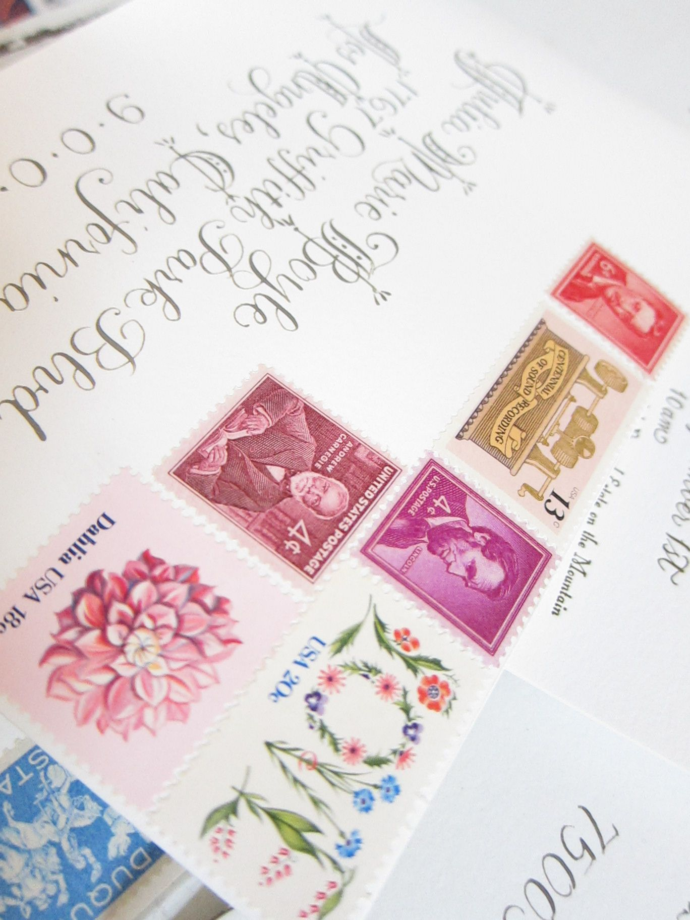vintage stamps on wedding invitations by Julia Lake www.julialake ...