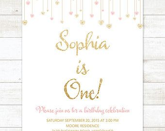 Pink Gold First Birthday Invitation Pink Gold Glitter Hearts Girl - 1st birthday invitations gold and pink