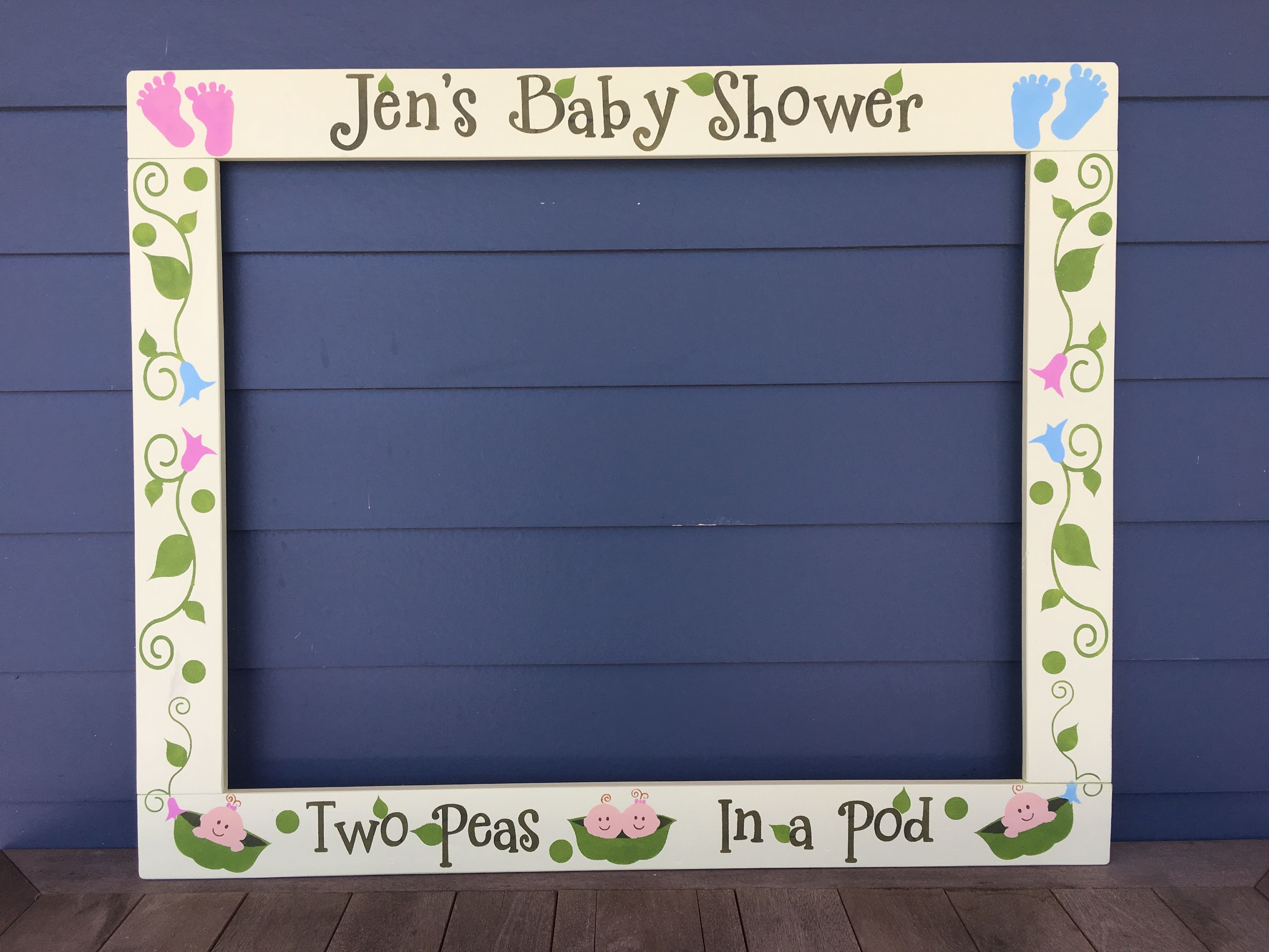 Pea Pod Baby Shower Photobooth Frame Prop Twins Baby Shower