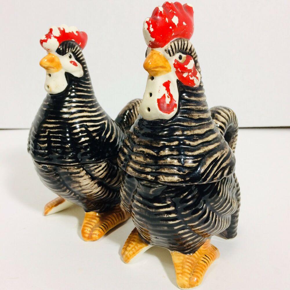 Vintage Rooster /& Hen SaltPepper Set Japan