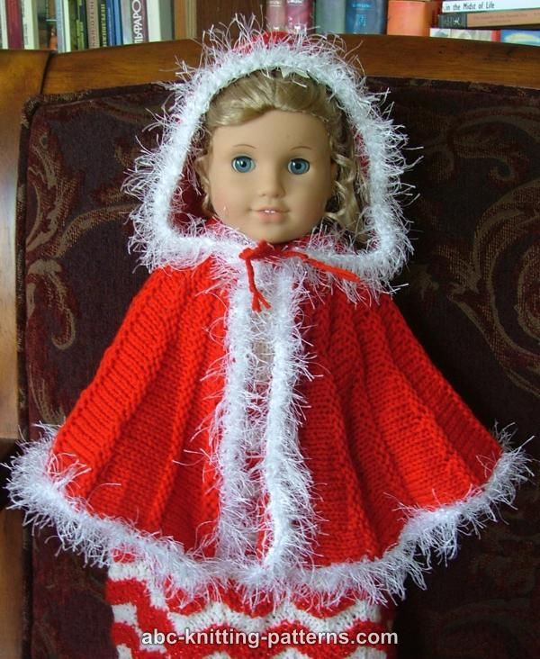 "Doll Clothes 18/"" Red Cape Fur White Fits Americans Girl Dolls"