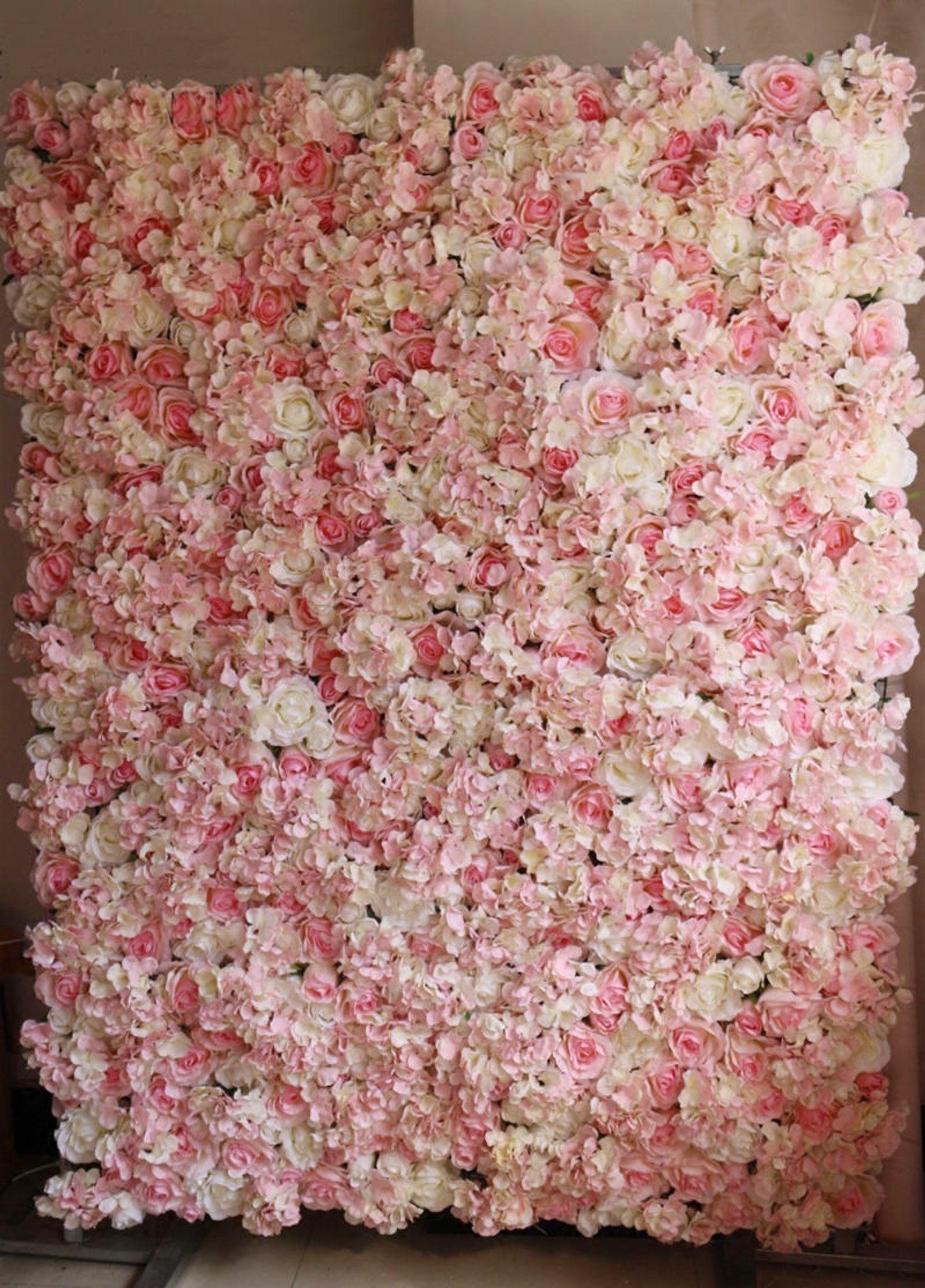 Baby Pink Wedding Flower Walls Wedding Backdrops Artifical Silk Rose Hydrangea Background For Romantic Wedding Photography Panels 40 60cm Flower Wall Wedding Flower Wall Silk Roses