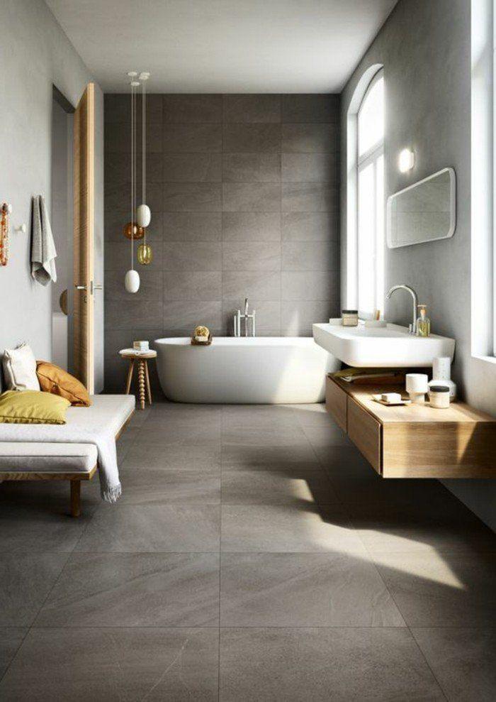 carrelage beton, grande salle de bain avec banquette et vasque