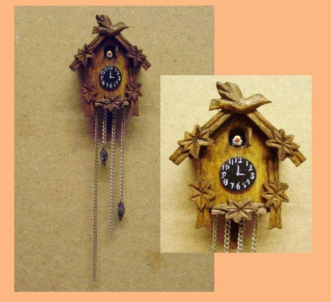 Hand Carved Wood Dollhouse Miniature Cuckoo Clock Kit Dollhouse