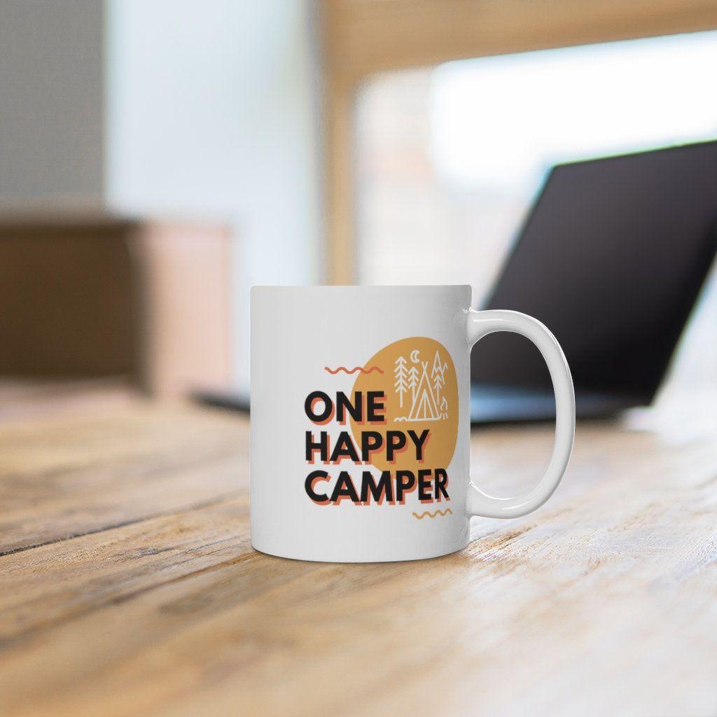 coffee mug   ceramic mugs   funny coffee mug   one happy camper