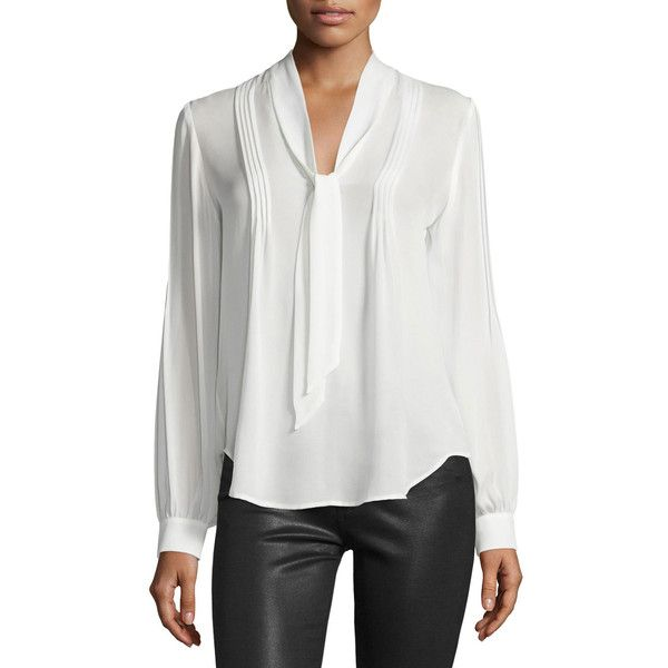 26b2d6bab8c Paige Denim Lupita Tie-Neck Pintuck Silk Blouse (€215) ❤ liked on Polyvore  featuring tops