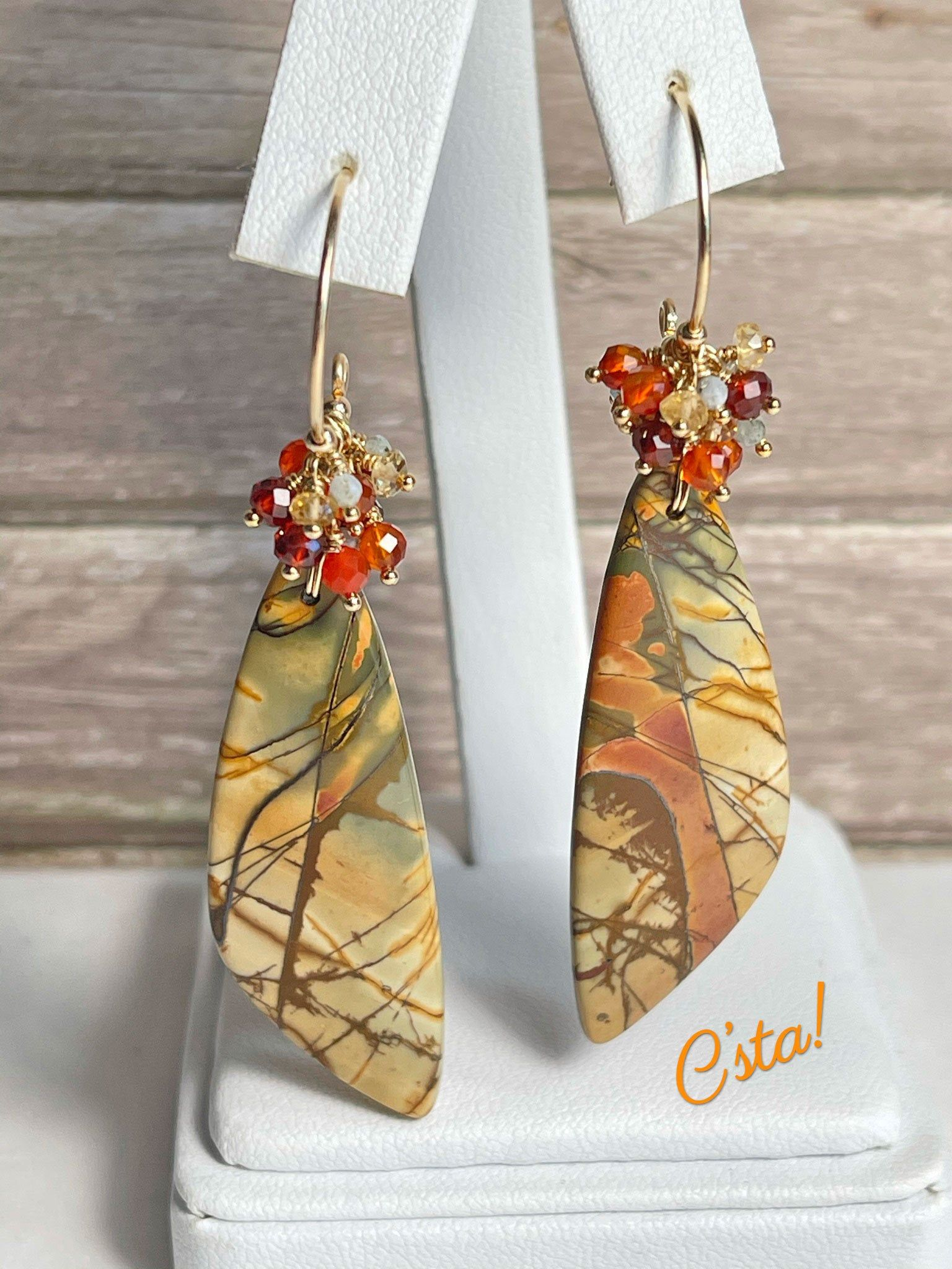 Multistrand Goldstone Necklace with Brown /& White Ceramic Bronze Glass AB Faceted Crystals Antique Copper Accents and Matching Earrings
