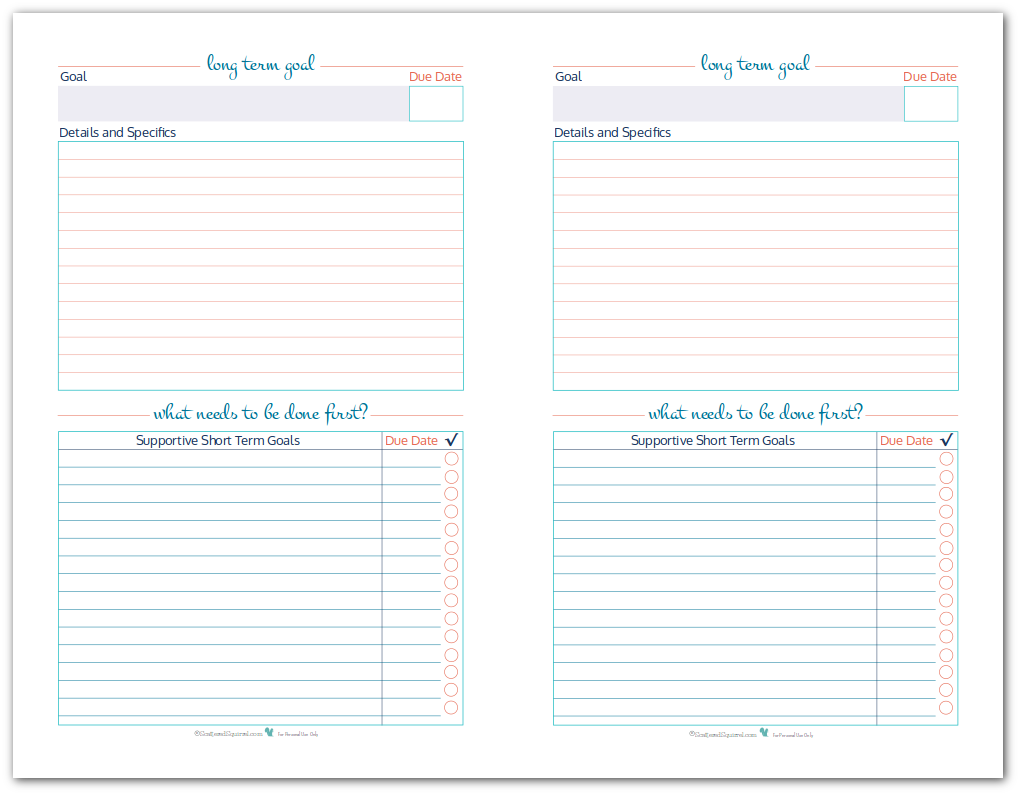 Organize Your Goals by Writing Them Down {Goal Setting} | Goal ...