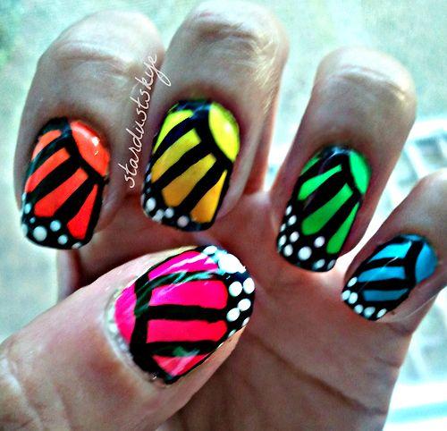 Neon Gradient Butterfly Nail Art