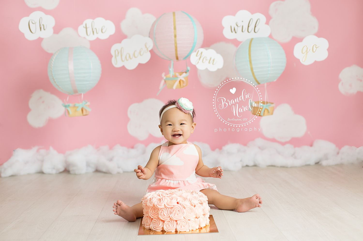 First Birthday Cake Smash Girl Burlington Ontario Session Oh
