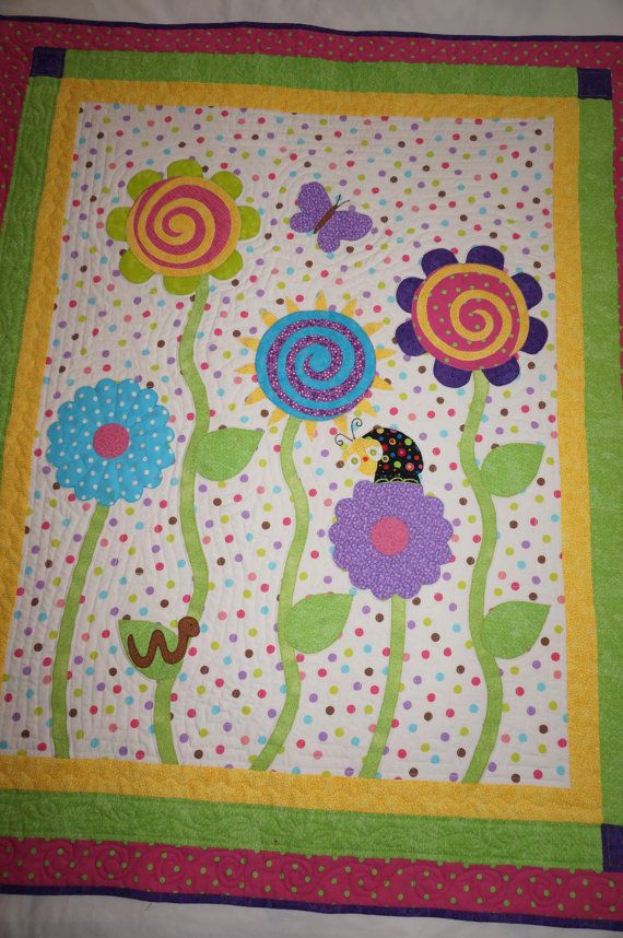 Baby Quilt Applique Flowers and Bugs Baby, Todder, Girl
