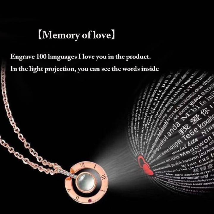 100 Languages I Love You Projection Pendant Necklace Love Necklace Silver Pendant Necklace Gift Necklace