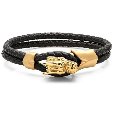 Gold Plated Dragon Head Bracelet