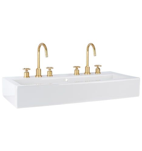 Winslow Wall Mount Wide Sink Two Standard 8 Faucet Spreads C8085