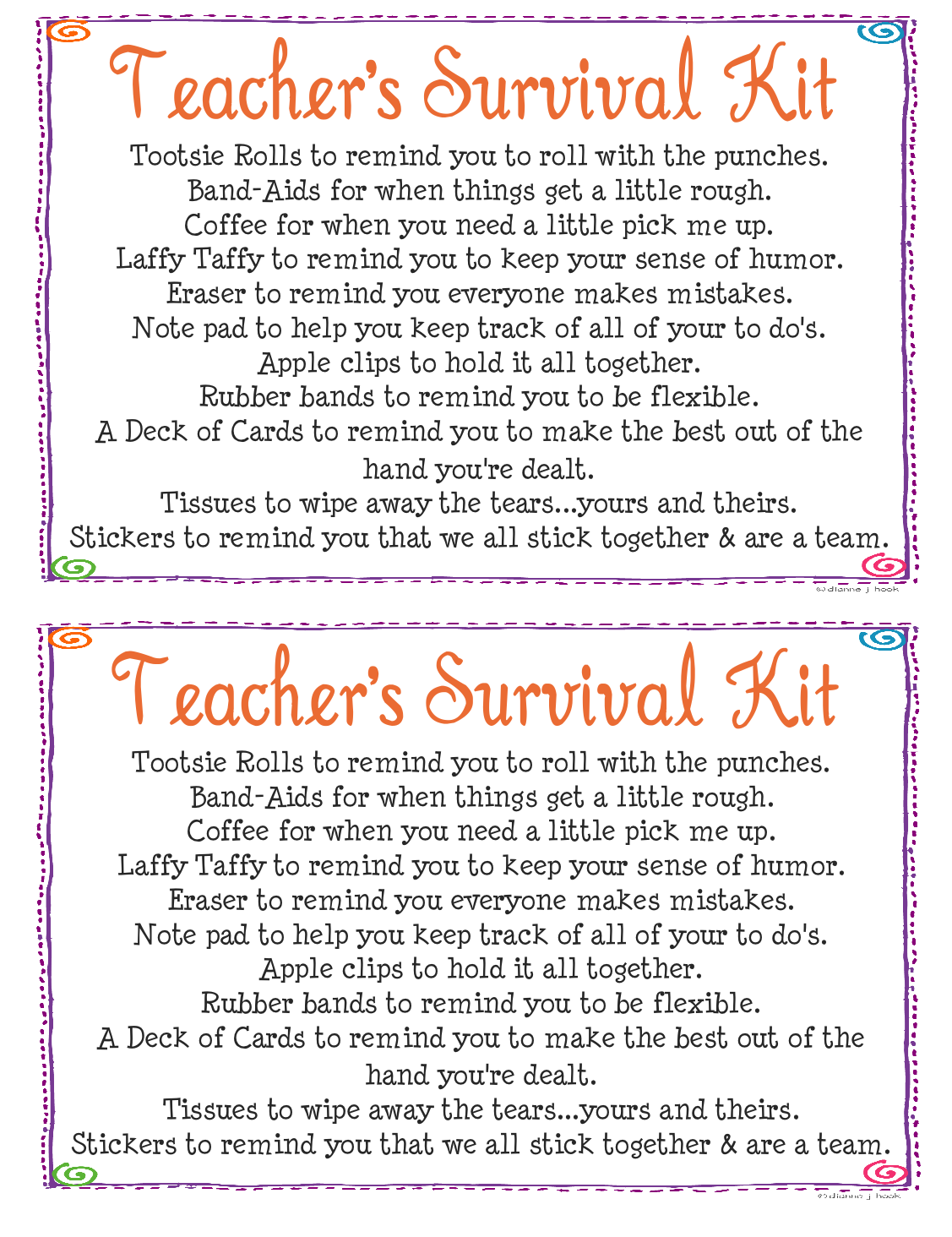 Humorous Survival Kits for Teachers | Teacher's Survival Kit