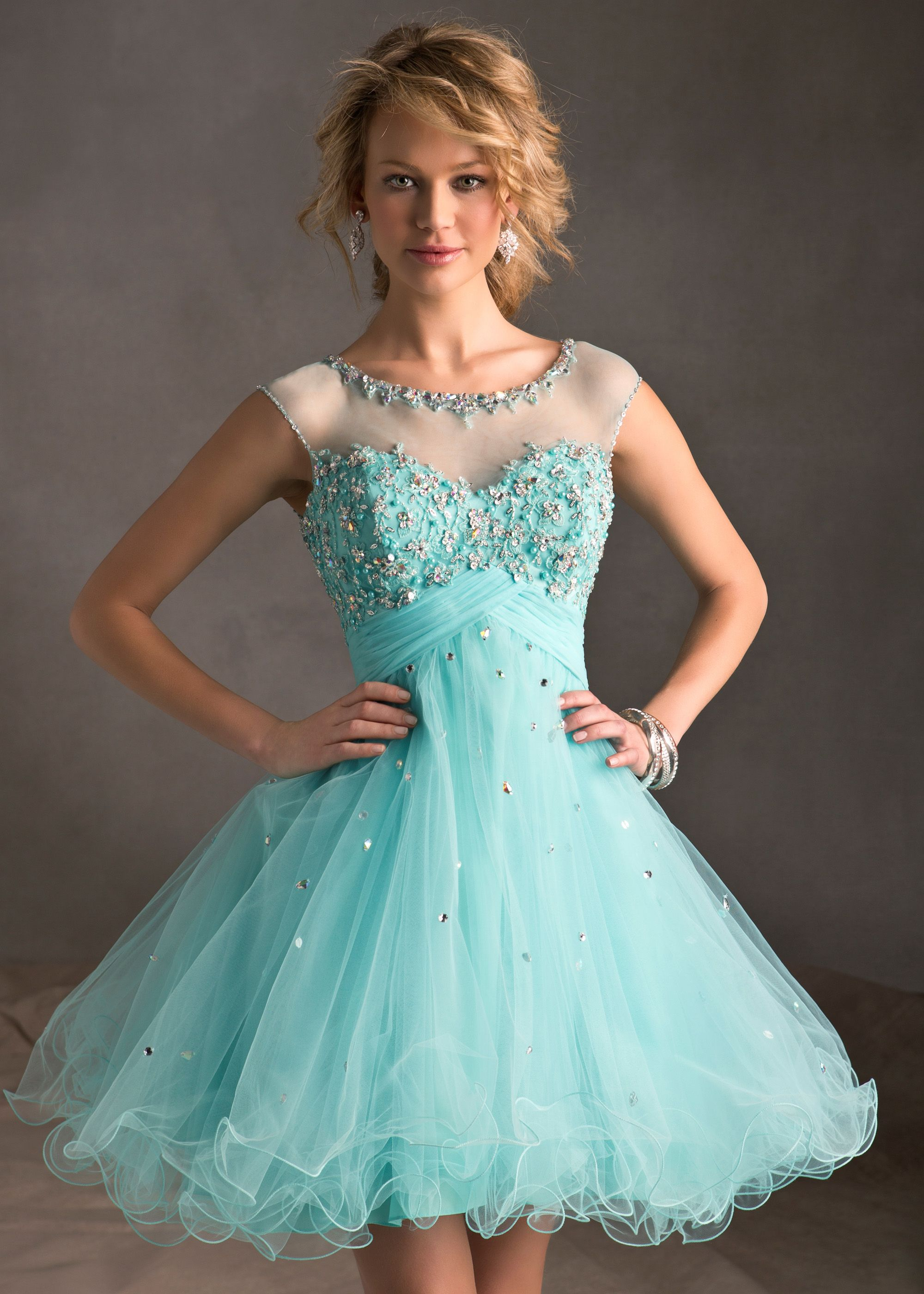 Low Price Guarantee on Sticks & Stones Mori Lee 9244 blue tulle beaded short homecoming dresses available now at RissyRoos.com.