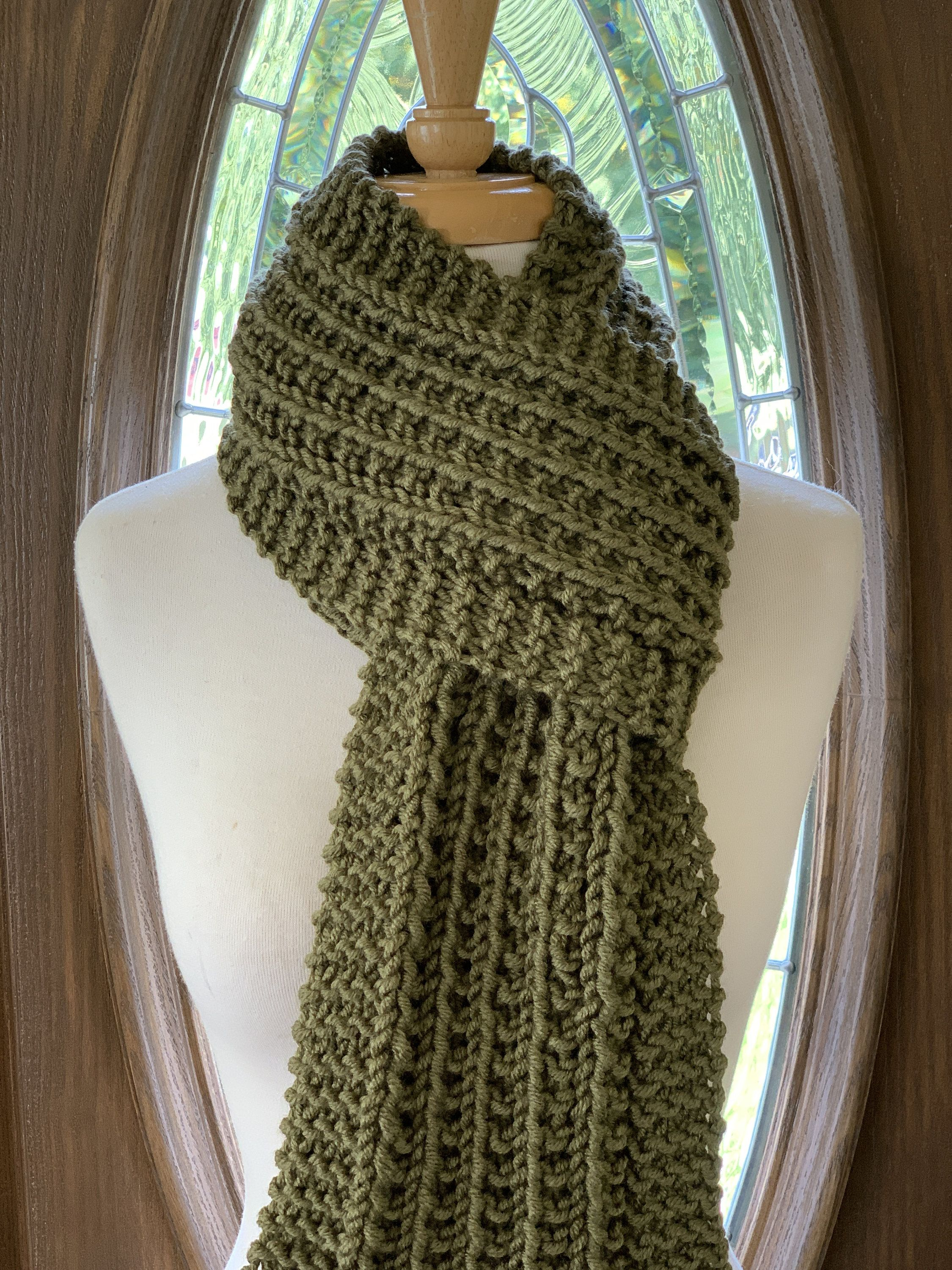 Photo of Hand Knit Scarf Knit Neck Wrap Knit Winter Scarf Avocado Olive Green Scarf For Women and Men Reversible Pattern Unisex Scarf