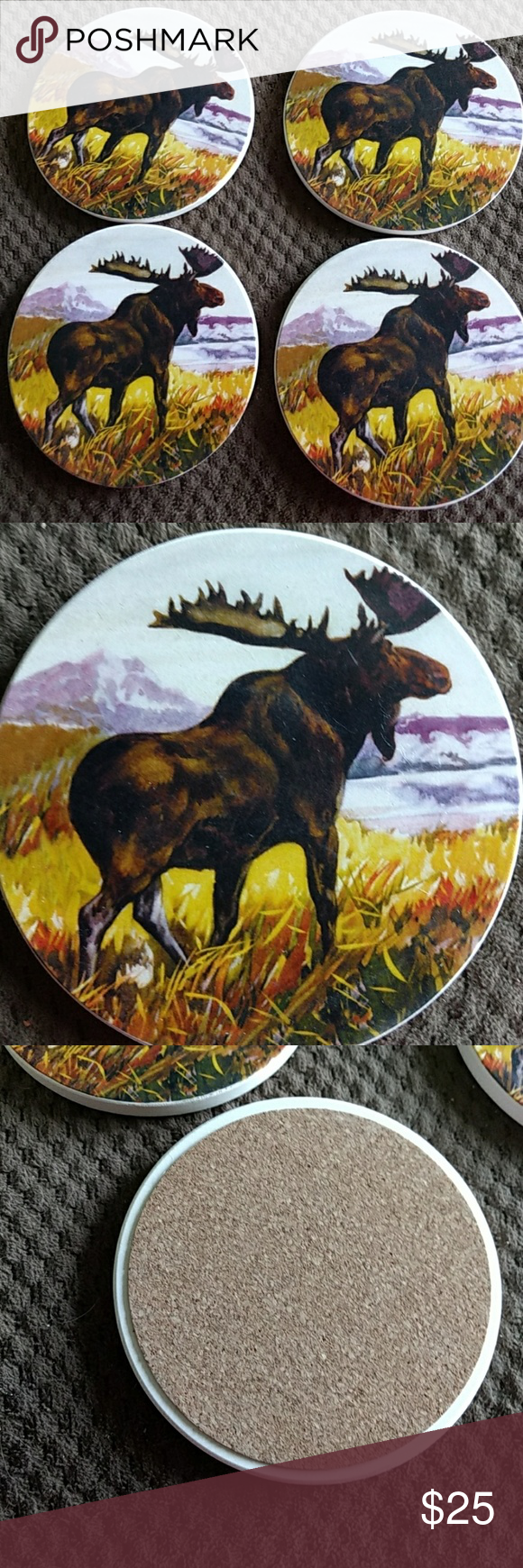NIB Set of 4 Stone Coasters Moose design is same on all coasters . Coors are brown, purple, yellow, green & blue. Nice gift still in box. One set of 4. COUNTER ART Other