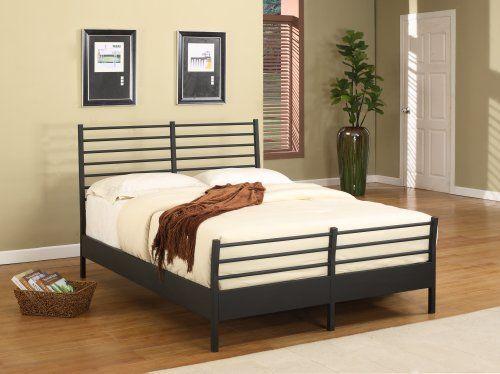 Texture Black Metal Full Size Bed Headboard Footboard Rails & Platform