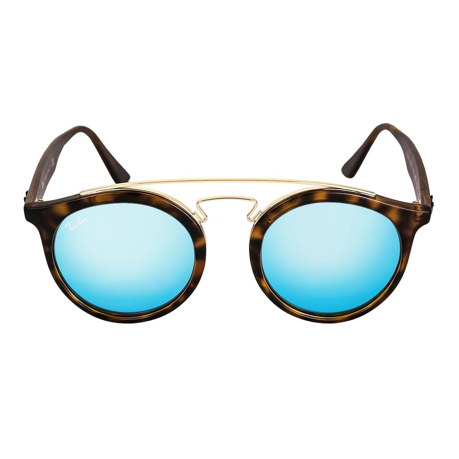 2a37d9bee1 Ray-Ban RB 4256 609255 49 Women s Gatsby I Blue Mirror Lenses Tortoise  Propionate   Gold Metal Frame Sunglasses