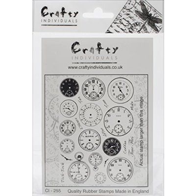 "Crafty Individuals Unmounted Rubber Stamp 4.75""X7"" Pkg-Tick Tock Clock Faces"