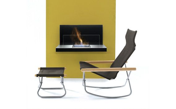 Stainless steel wall-mounted fireplace powered by ethanol fuel; easy ...