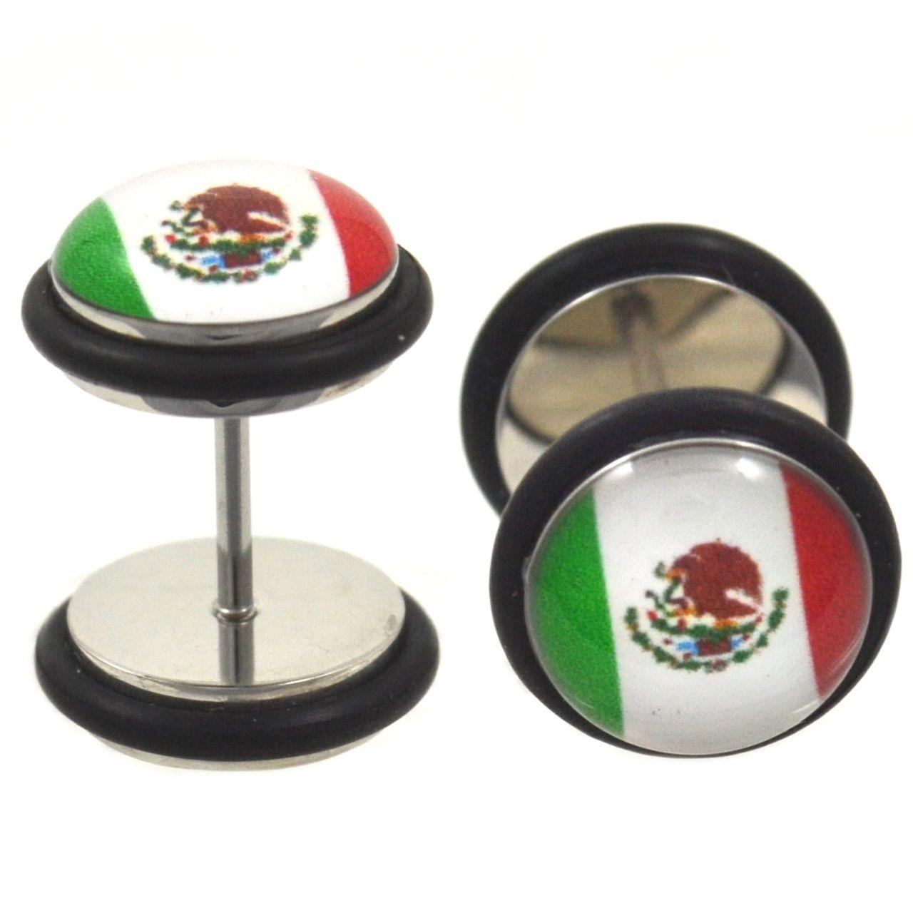 Mexico Flag Fake Plug Steel Earrings (00g Look)