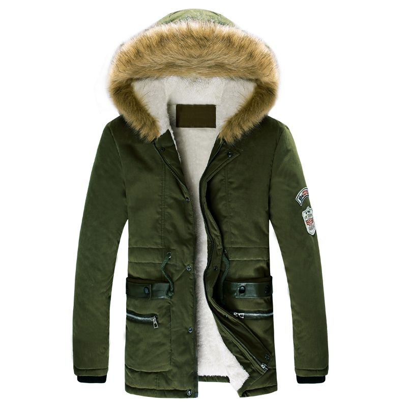 Hot sale men winter fur coat hooded collar casual camouflage ...