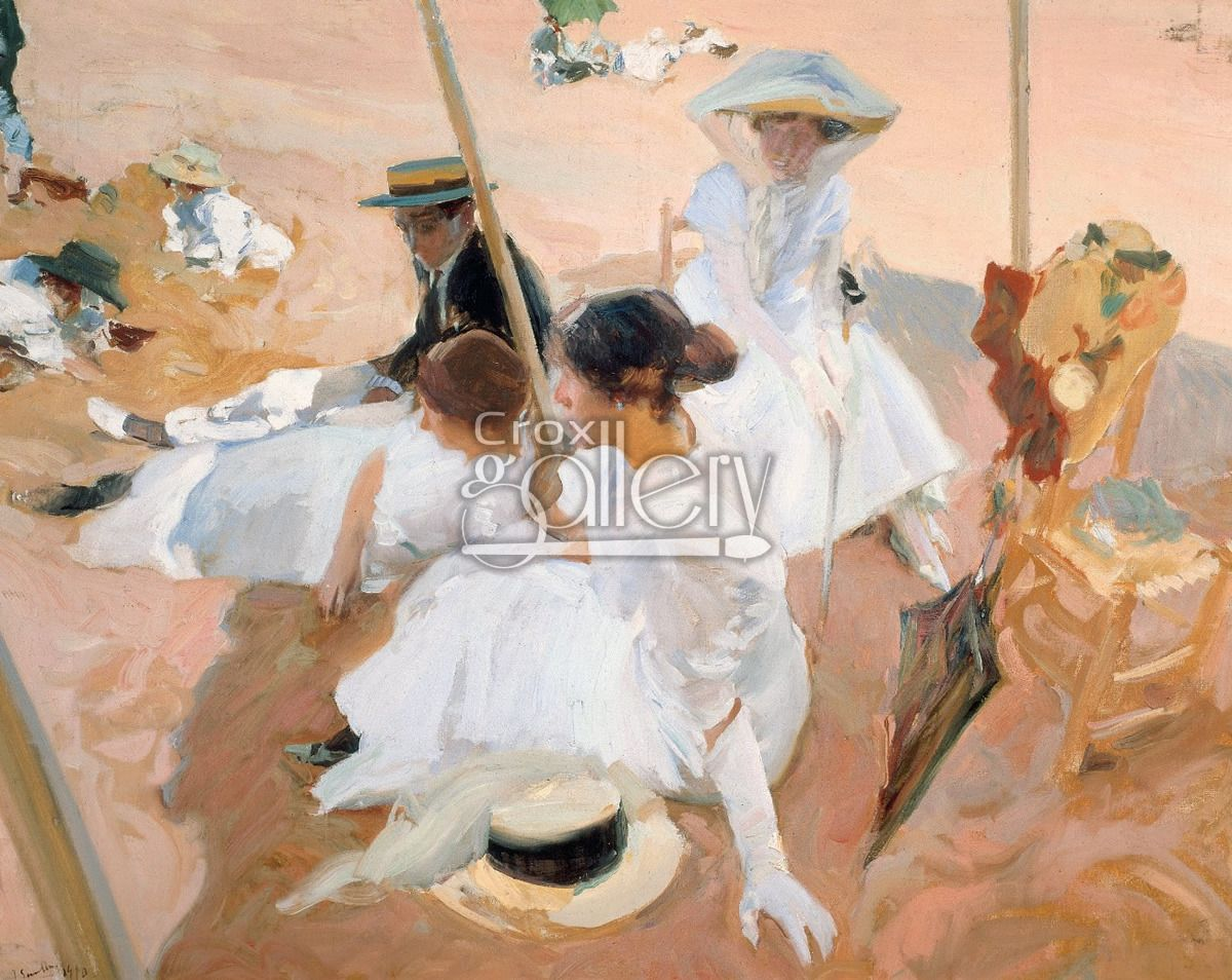 Under The Awning By Sorolla Spanish Impressionist Painting Google Art Project Art Painting