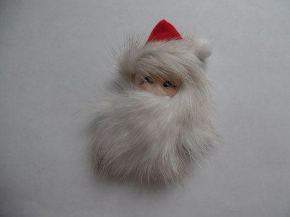Vintage Christmas Pin Real Mink Santa Claus Holiday Brooch w/ Light Beard NOS