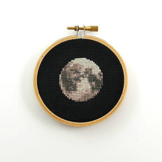 Photo of Moon Cross Stitch pattern, planet cross stitch, space  cross stitch, science cross stitch, geeky cross stitch, moon pdf pattern