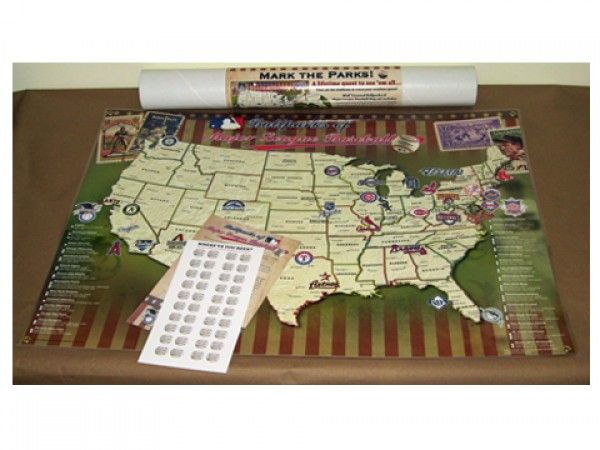 Map Your Travels MLB Stadiums Laminated Poster Unique - Us map of baseball stadiums outline