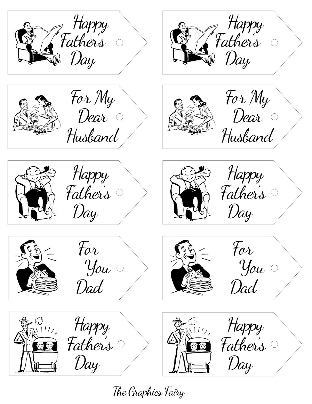 The Graphics Fairy - Crafts: Father's Day Printable - Retro Gift Tags