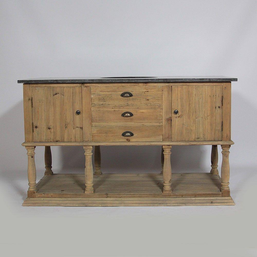 meuble de salle de bain 1 vasque en bois recycl et plateau en pierre bleue naturelle http. Black Bedroom Furniture Sets. Home Design Ideas