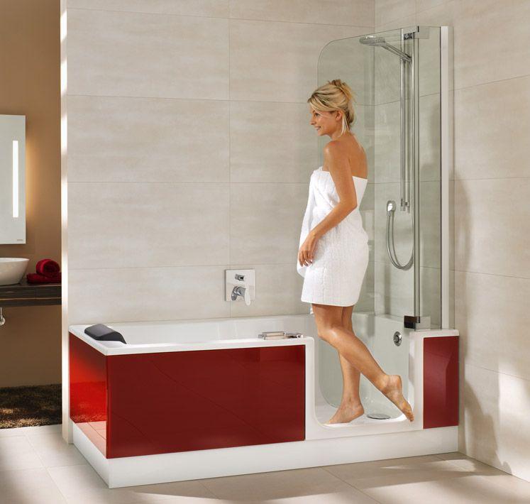 TWINLINE 2 Duschbadewanne mit Wannenschürze Bordeaux